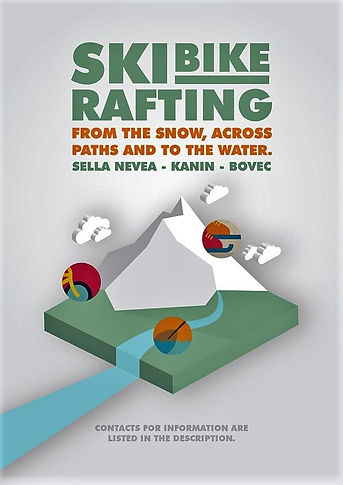 nice poster of the ski bike rafting by Alpska Sola Bovec
