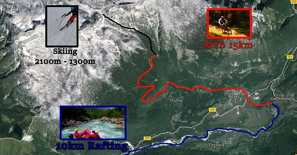 map of sella nevea bovec ski bike raft