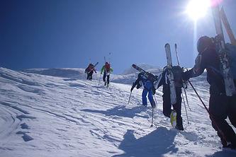 hiking to ski some nice snow in sella nevea