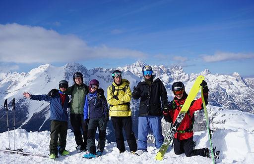 sella nevea group photo of our freeride ski course in sella nevea - bovec