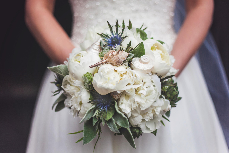 Bukiet ślubny z muszelkami