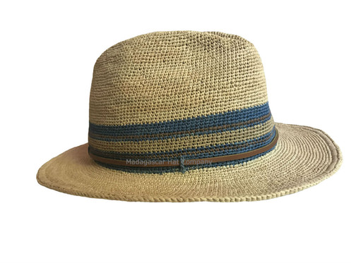 0d1bcd63552be2 Very Soft and tightly hand crocheted raffia fedora hat. 5 CM (2 inches)  brim. Vented to allow air to pass through and keep you cool. Wired brim.