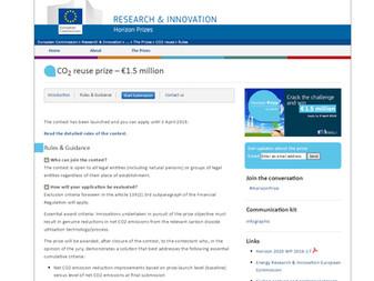 European Commission launches Horizon Prize for CO2 Reuse