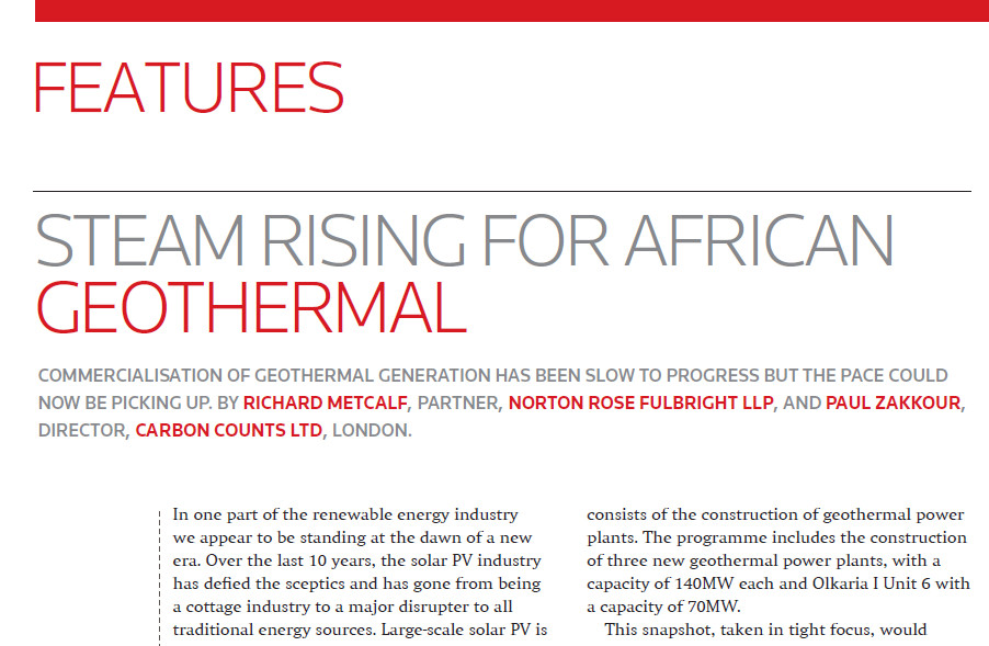 African Geothermal Invesment article