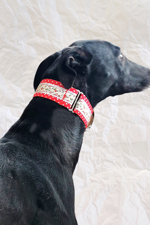 Red Ditsy Floral & Polka Martingale Collar