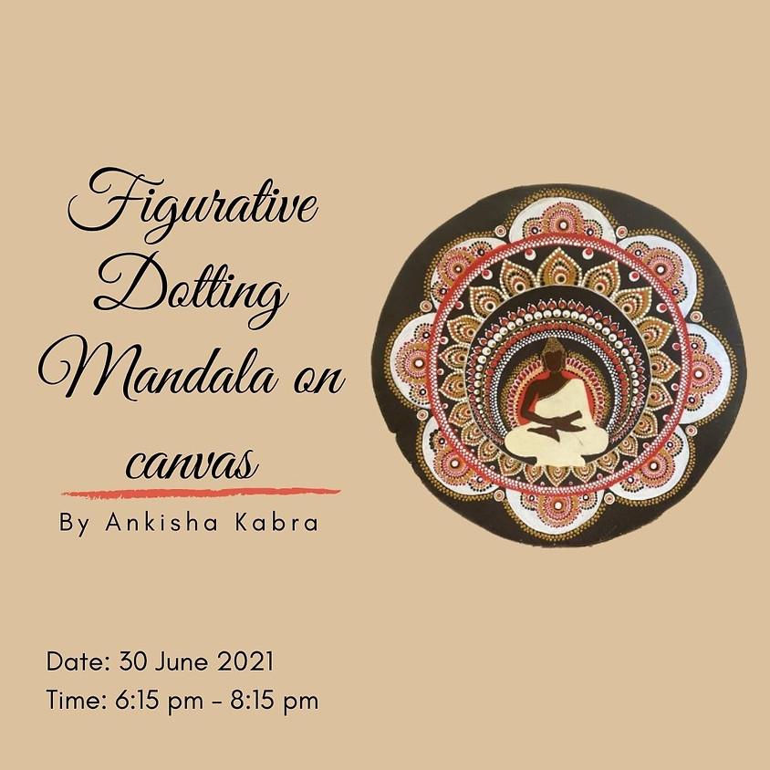 Figurative Dotting Mandala on canvas
