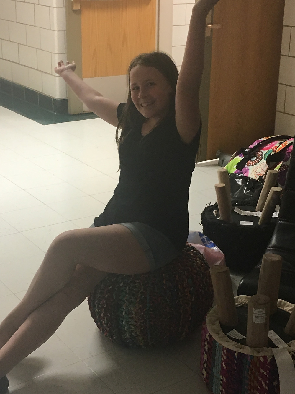 Zoey helping me bring in stuff for my flexible classroom