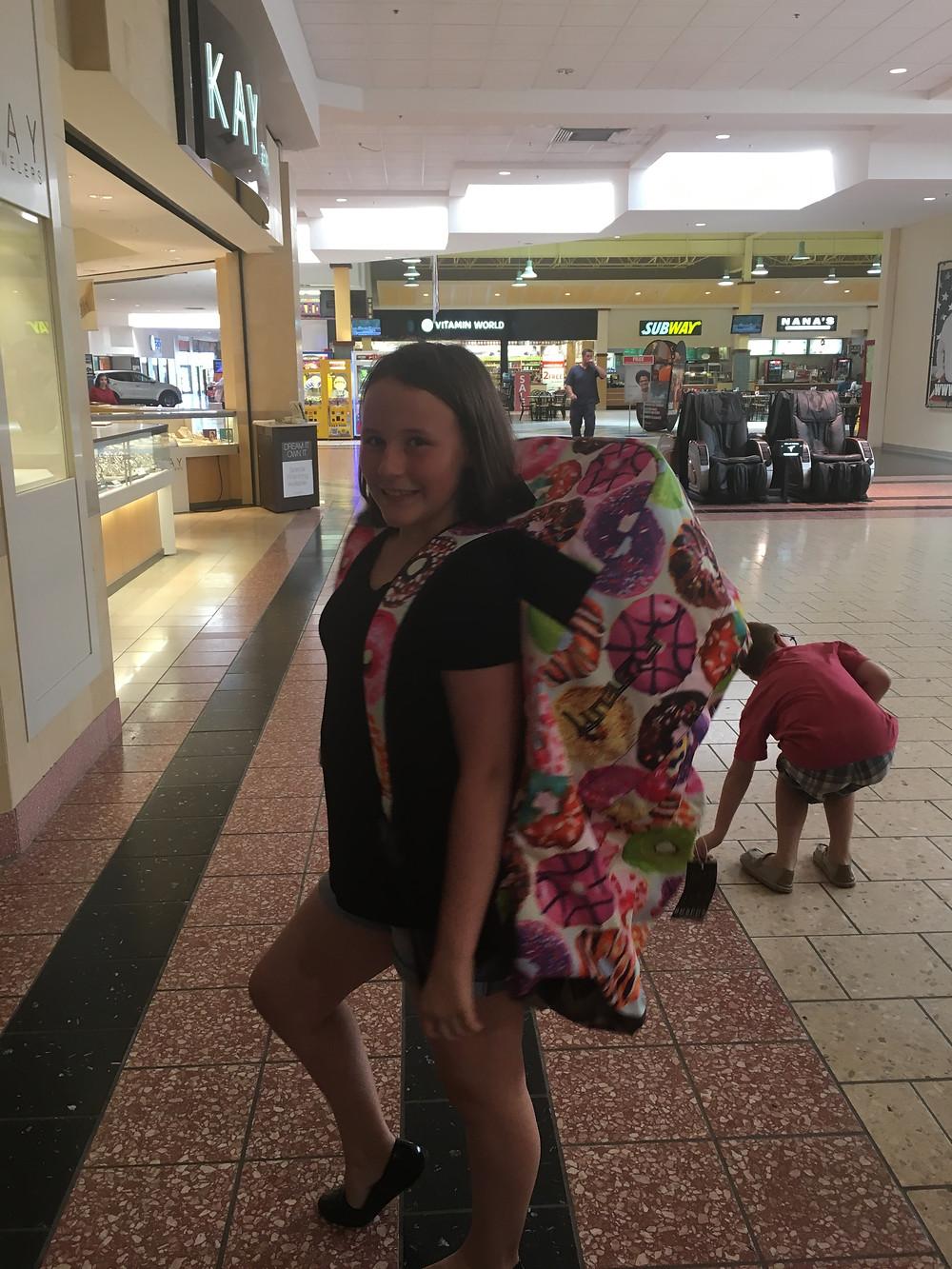 Zoey models big backpack