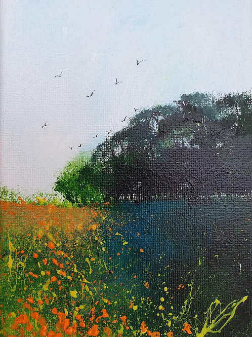 Orange Meadow Flowers & Trees