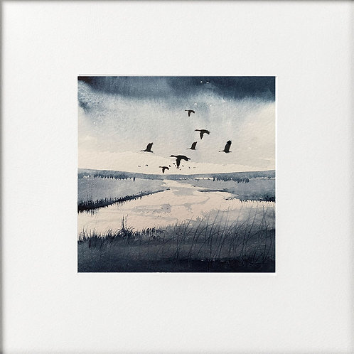 Monochrome - Flocks of Geese over water