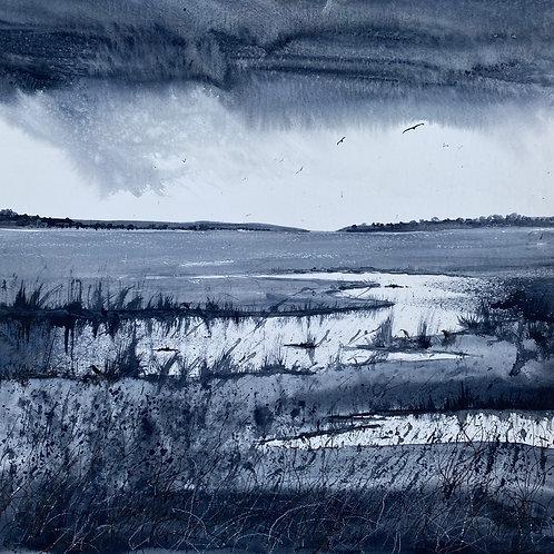 Monochrome - Far reaching views across Marshes
