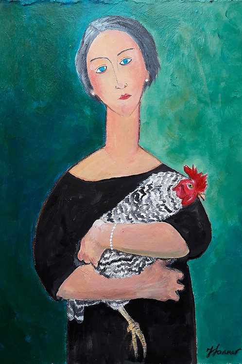 Woman with Chicken