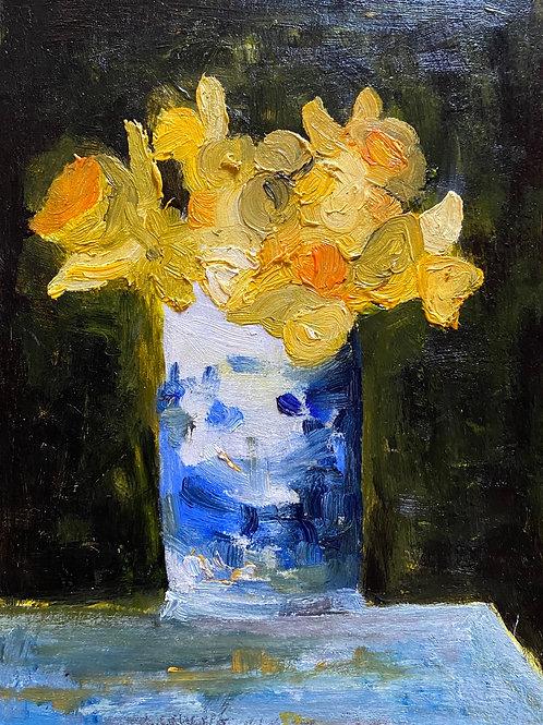Daffodils Blue Vase