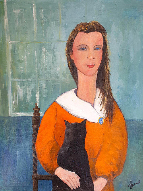 Girl with Cat & Cameo
