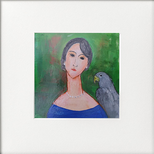 Woman Blue Dress Grey Parrot