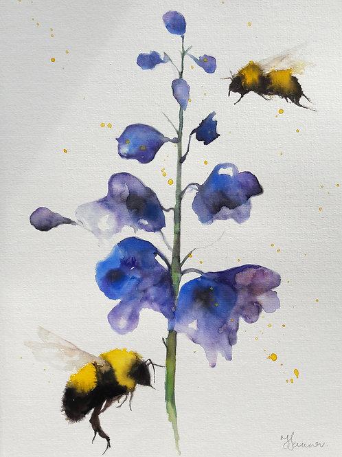 Bees & Delphinium Flowers