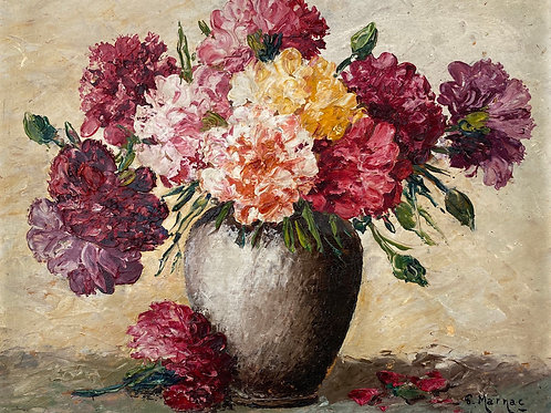 Vintage Oil Painting - Bowl of Pink Carnations