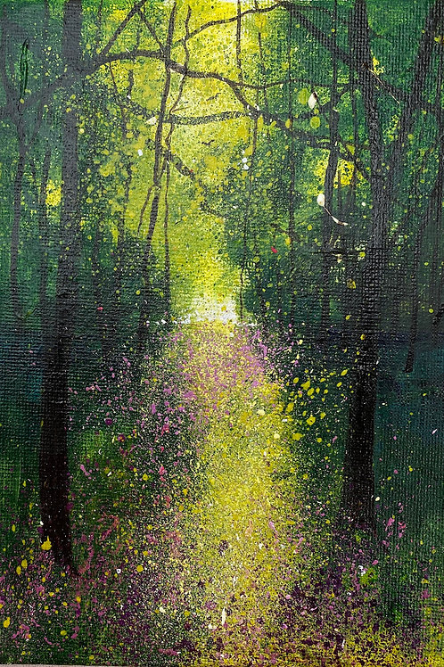 Spring - Yellow and Violet pathway through Woods