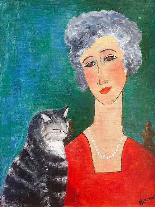 Woman with Tabby Cat