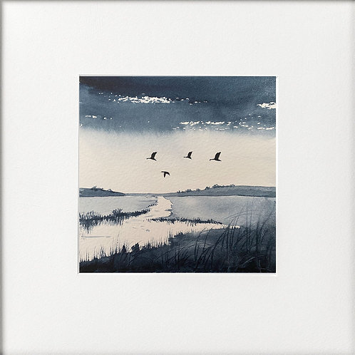 Monochrome - Geese passing over marshes