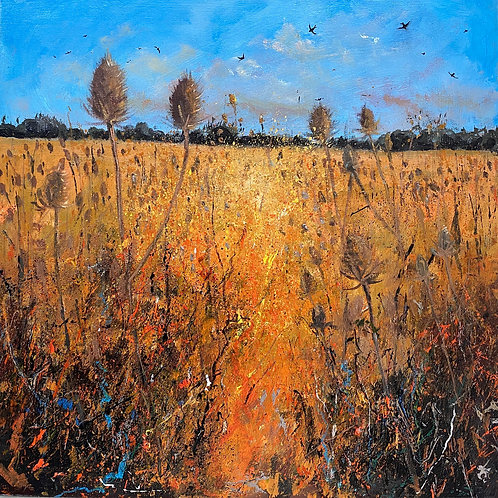 Late Summer Teasel Field, Swallows