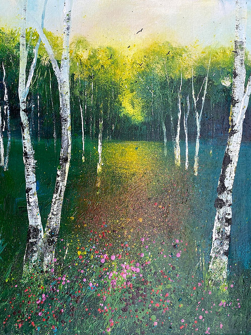 Spring Silver Birch Woodland Wildflowers