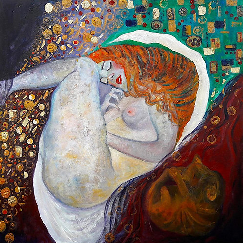 Danae Sleeping with cat (Klimt tribute)