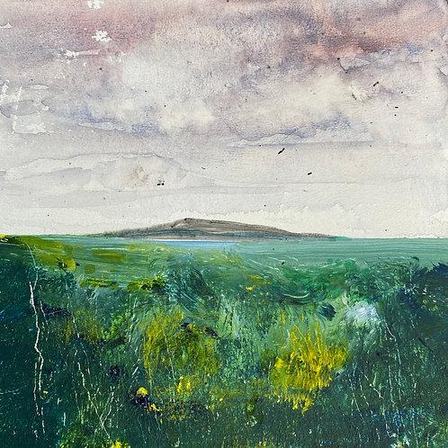 Mini Woodblock - Hill & Clouds