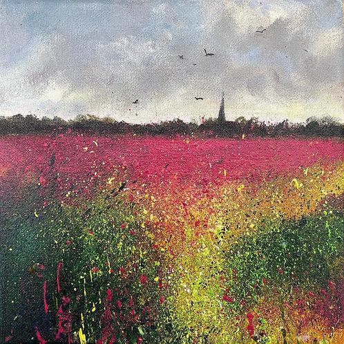 Summer Rosebay Willowherb & distant Church
