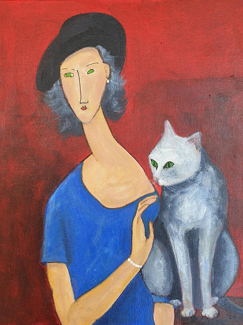 Woman Blue dress grey cat