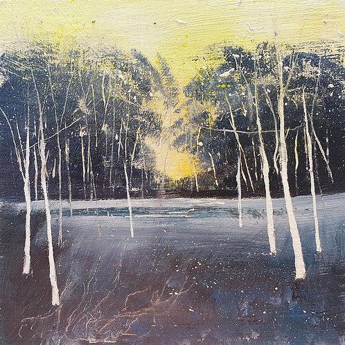 Winter Blues Woodblock panel