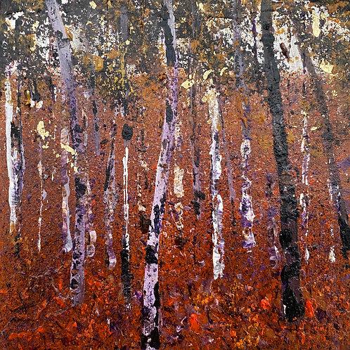 Mini Woodblock - Birch Trees