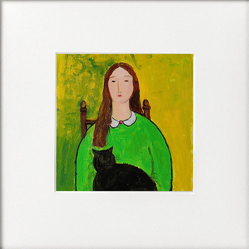Girl in Green, black cat