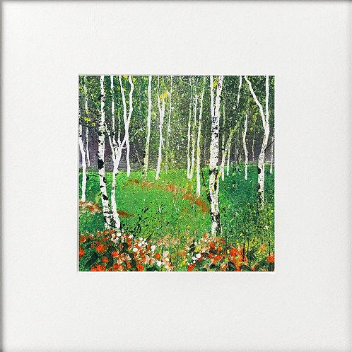 Seasons - Summer Silver Birches, Orange Flowers