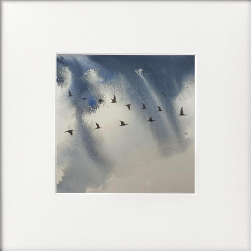 Monochrome watercolour geese flying in formation