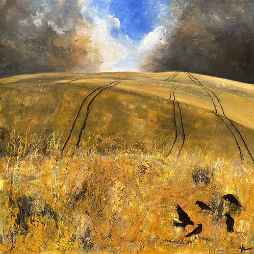 Cornfield, Crows, Stormy Skies
