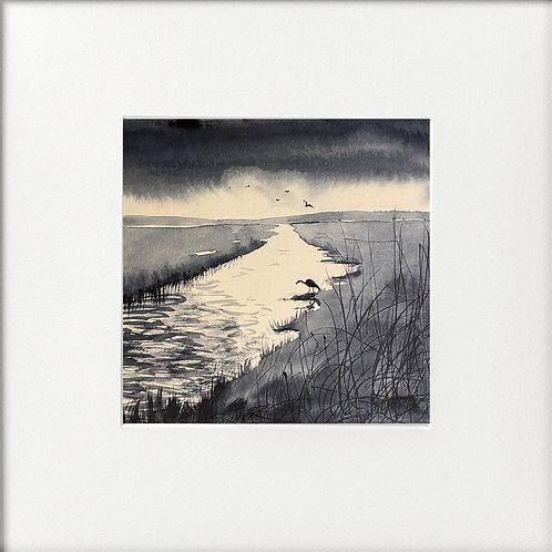 Monochrome - Lone Heron distant rainclouds