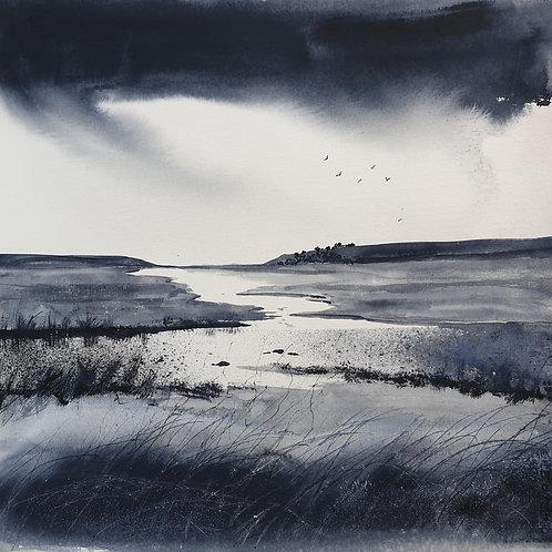 Monochrome - Estuary under rainy skies