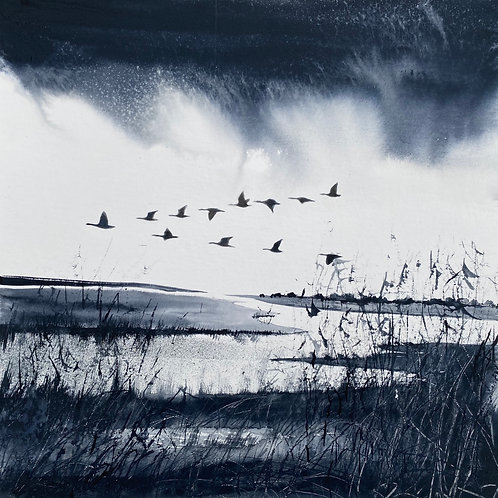 Gaggle of Geese over Marshes