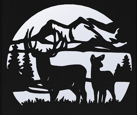 Deer and Mountain Design