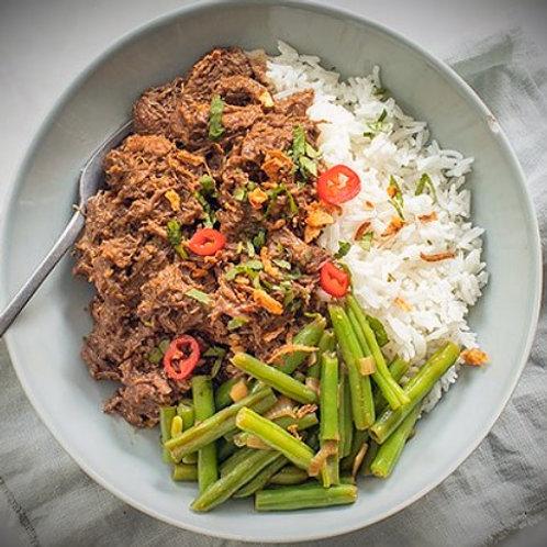 rendang met jackfruit, wokgroenten en rijst
