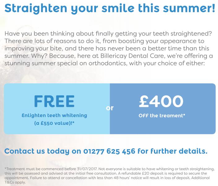 Teeth Straightening Offer at Billericay Dental Care until 31/08/2017