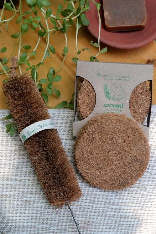 Coconut Fiber Coir Scrub (Pack of 5) And Bottler Cleaner