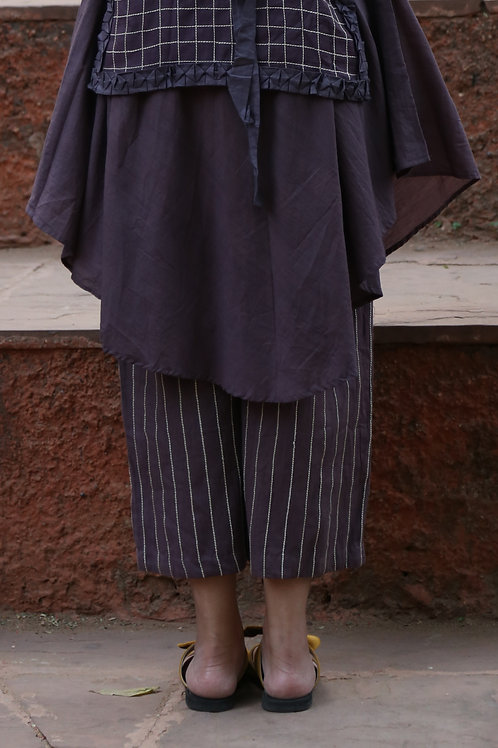 Purple Linen Culottes With Checkered Embroidery
