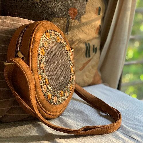 Dhaaga Handcrafts - Mustard Jute Floral Round Sling