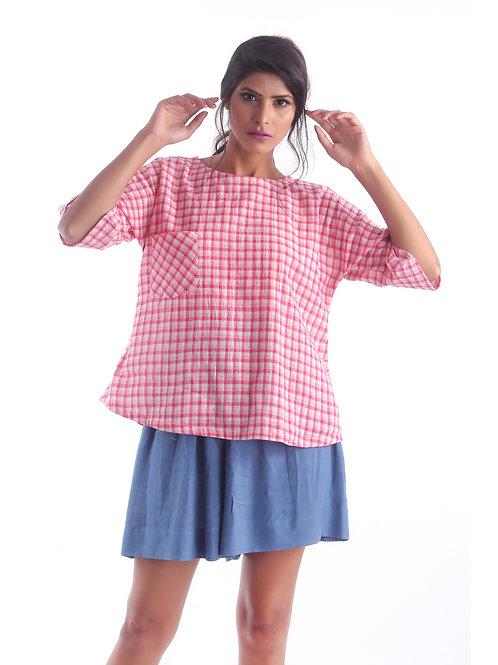 Sustainable Kala Cotton Pink Check Pocket Top