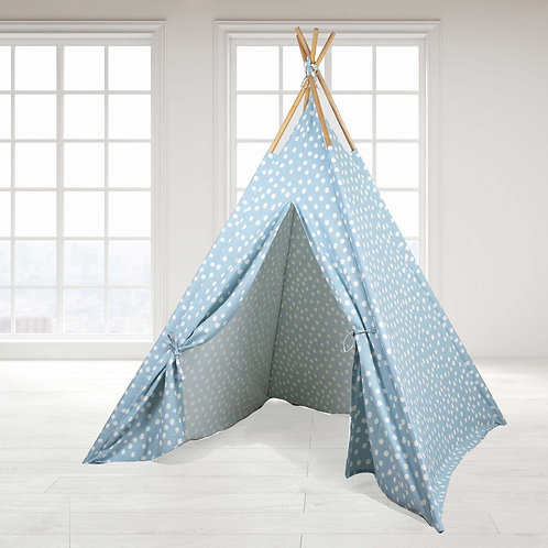 Teepee Tent - Blue Base white dot