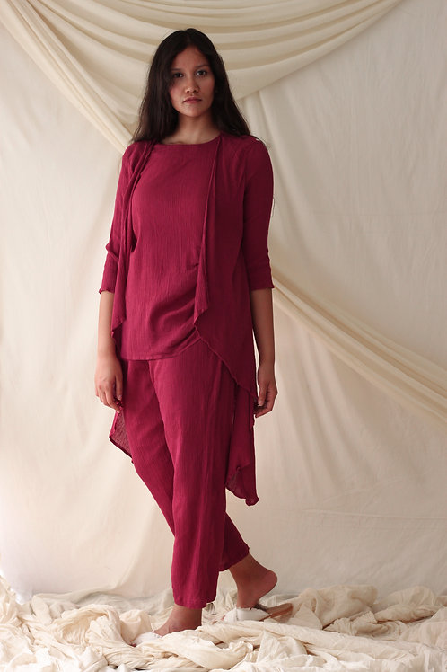 Asymmetric Tunic With Mock Overlay And Relaxed Fit Pants - Deana - Plum