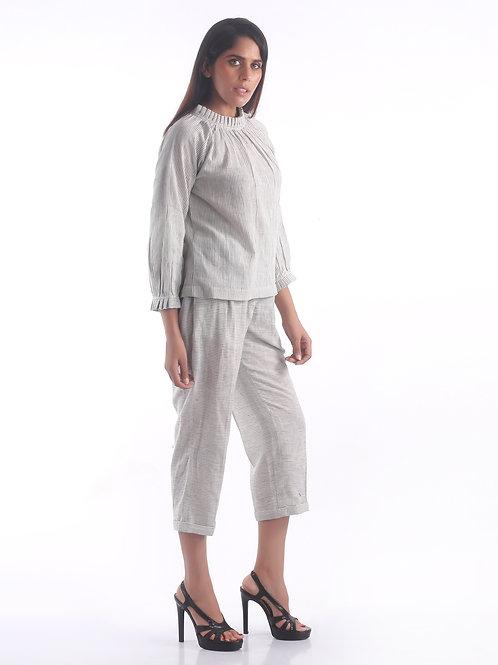 Sustainable Kala Cotton Stripe English White Top