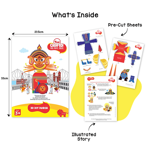 Craftoi Durga - 3D DIY Paper Craft Kit, Teach Kids About Festivals